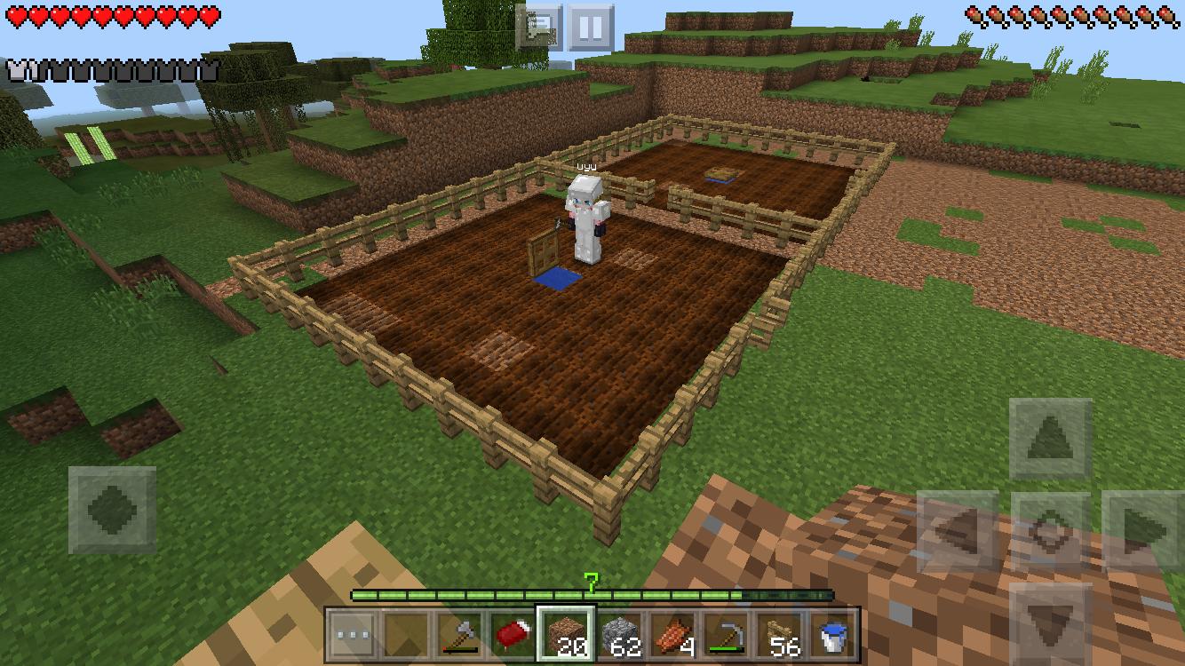 マイクラPEで9×9の畑を2つ設置