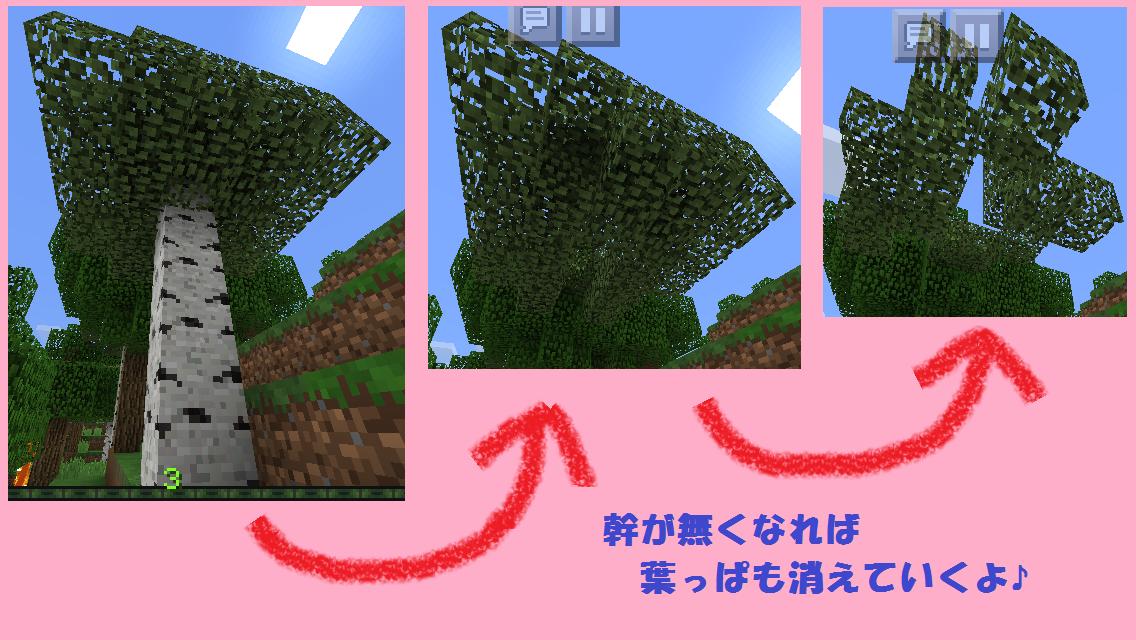 マイクラPEで葉っぱが消えていく様子