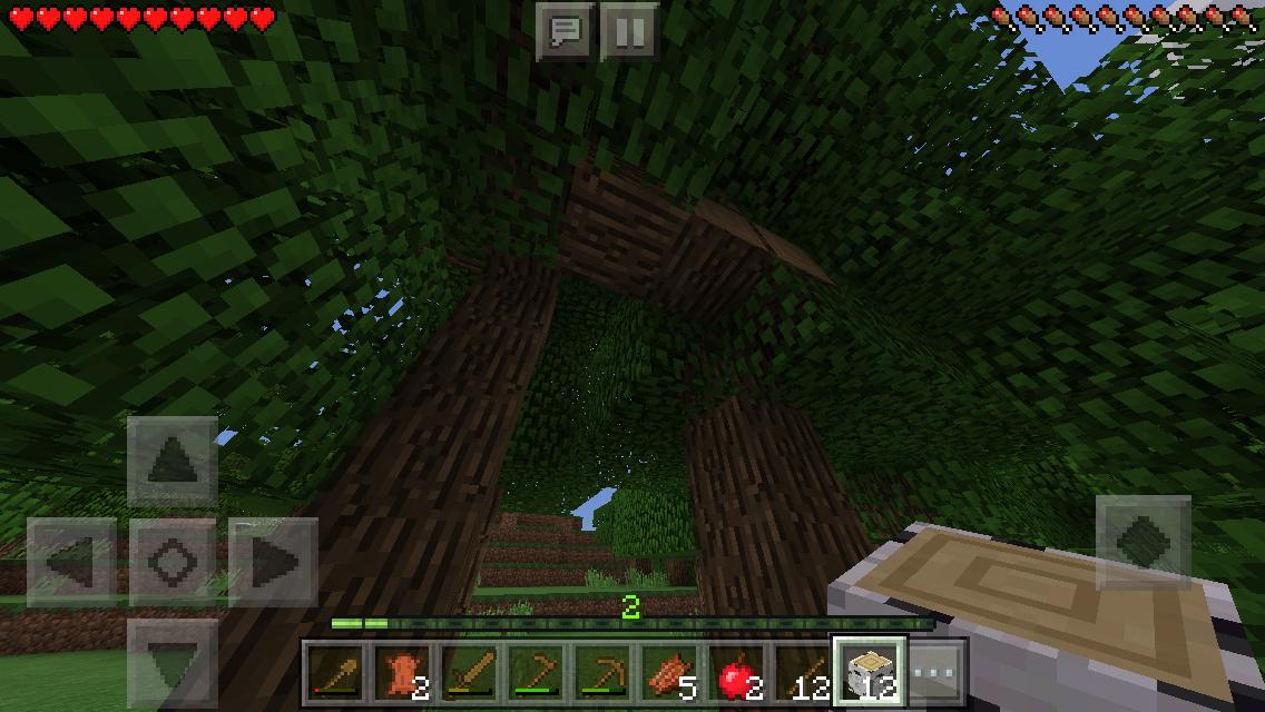 マイクラPEで乱雑に成長する樫の木